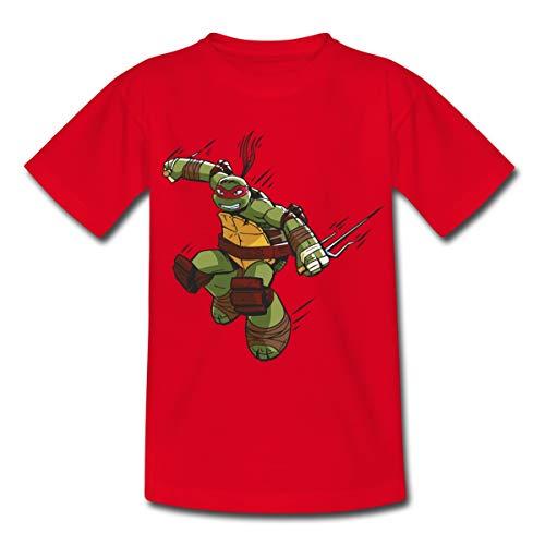 Spreadshirt Tortues Ninja Raphael À L'Attaque T-Shirt Enfant, 5-6 Ans, Rouge