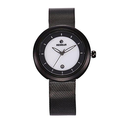 wit marmer kwarts horloge roestvrij staal gaas band houten kast horloge, klein gezicht, kalender polshorloges voor vrouwen eenvoudige zwart
