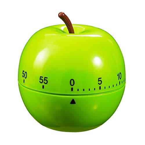 Relaxdays Eieruhr Apfel, mechanisch, laut, Küche, 1h Zeitintervall, Kunststoff, D: 7 cm, lustiger Kurzzeitwecker, grün