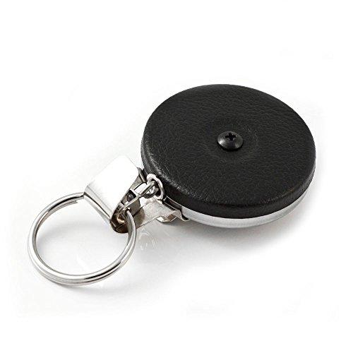 "KEY-BAK Original Chain Retractable Key Holder with 24"" Stainless Steel Chain, Black Front, Steel Belt Clip, 8 oz. Retraction, Split Ring, Hus-Key, Black Vinyl (0005-103)"