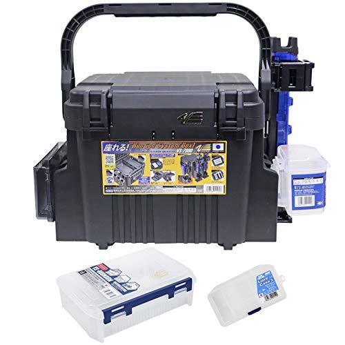 ランガンシステムボックス VS-7080 ブラック 7点セット 明邦化学工業 MEIHO VERSUS 釣り具 (ロッドスタンド:クリアブルー)