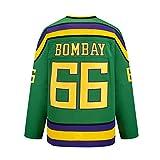 Yajun Gordon Bombay #66 Mighty Ducks Película Camisetas Hockey Jersey sobre Hielo NHL Hombre Ropa Respirable T-Shirt de Manga Larga,L