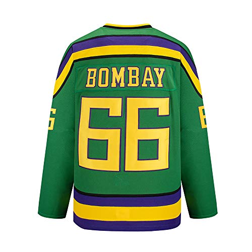 Bombay # 66 Mighty Ducks Vintage Hockey Trikots Filmhockey Trikot S-XXXL,L