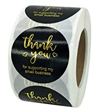 Package Includes: You will receive 1 sticker roll that includes 500 stickers, each sticker is 1.5inch in diameter. Reliable material: the thank you label is made of quality kraft paper/quality paper with golden foil letters printed on it and looks ve...