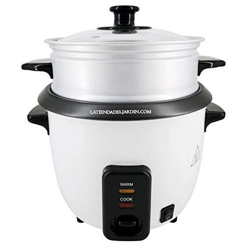 Suinga Cuociriso elettrico con capacità di 0,6 litri (2-3 porzioni) con funzione di mantenimento al caldo, cucchiaio e misurino, potenza 300 W