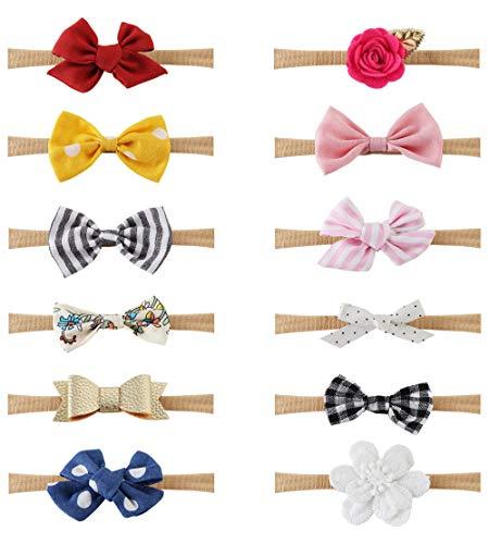 Milacolato 12 Stücke Baby Mädchen Stirnbänder und Bögen, Haarschmuck für Neugeborene Kleinkind Mädchen Nylon Stirnbänder Kinder Geschenke