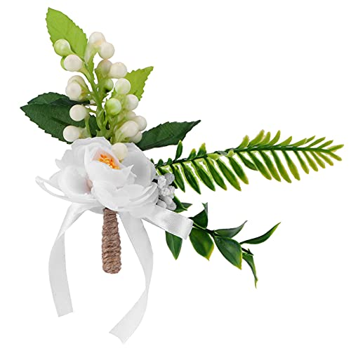 HERCHR Boutonnieres de Rosa Blanca, Boutonniere Novio Novio Boutonniere Boutineer Flor Artificial Broche Ramillete para Boda Fiesta de Baile