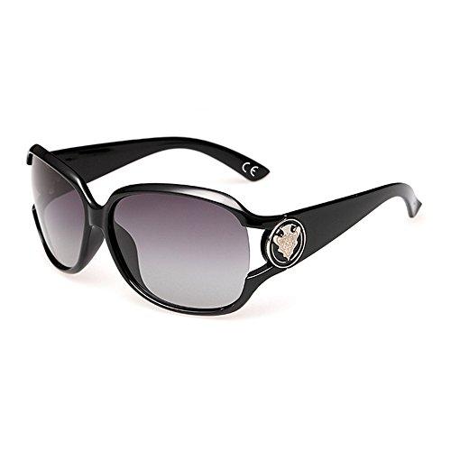 VeBrellen Damen Mode Polarisiert Oversize Sonnenbrille 100% UV-Schutz VS005 (Black)