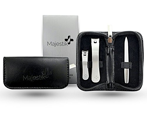3-pc. Stainless steel manicure and pedicure set, Con funda d