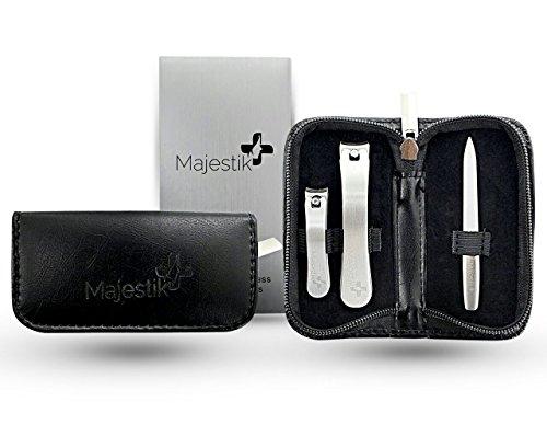3 Stks Nagel Clippers Kit voor Vingernails & Toenails + 1 Nagelvijl (Cleaner) met een Travel Leather Case - een Set van Scherpe Nagelsnijders, 100% Geld Terug Garantie van Tevredenheid!