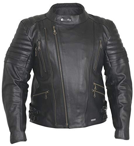Modeka motorjack Rock - Biker lederen jas in retro racing stijl - zwart-zwart