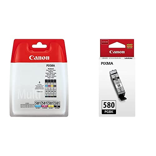 Canon Cli-581 4 Multipack Tinta Original Negro/Cian/Magenta/Amarillo Impresora Inyeccion + Pgi-580 Pgbk Cartucho Tinta Original Negro Impresora Inyeccion Tinta Pixma