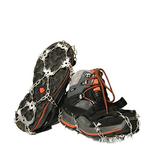 Universal-Eisspikes für Schnee, 19 Zähne, die letzte Generation für Schuhe, rutschfest, aus Edelstahl, Trekking, Trail Running, leichte Holzspikes (XL))