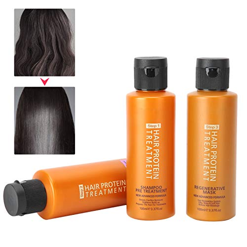 Protein Repair Hair Mask, 8% Brazilian Oil Repair Hair Conditioner Treatment Set, Long-Lasting Styling Brazilian Keratin, Oil Control Cleaning Shampoo