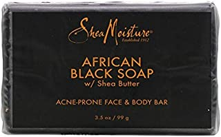 SheaMoisture Face & Body Bar for Oily, Blemish-Prone Skin African Black Soap to Clarify Skin 3.5 oz
