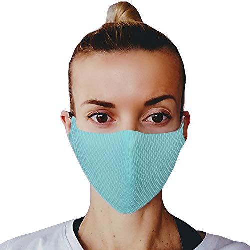 (5, Mint) Gesichtsmaske Mundschutz, Baumwoll Stoff Maske, Waschbare Atemschutzmaske, Wiederverwendbarer Mundschutz, Mund Maske Waschbar, Kälteschutz, Staubdichte Maske, hergestellt in der EU