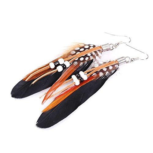 Aretes de pendiente - TOOGOO(R)1par de Aretes de pendiente de cuentas de plumas de India de estilo de Bohemia exotico de moda (Negro)