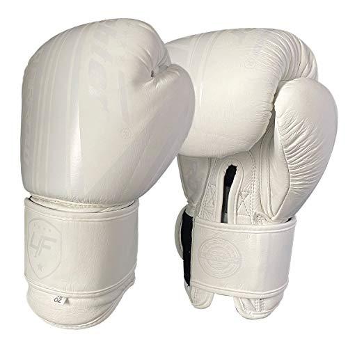 4Fighter Leder Boxhandschuhe White King, Unzen:12 oz