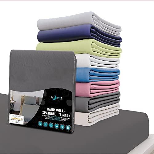 Dreamzie - Spannbettlaken 160x200 cm - 100% Jersey Baumwolle Zertifiziert Oeko-TEX® - Anthrazitgrau - Für Matratzen 160 x 200 x 27 cm