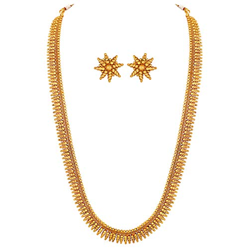Peora Traditional Gold Plated Long Maharani Necklace with Earrings South Indian Festive...