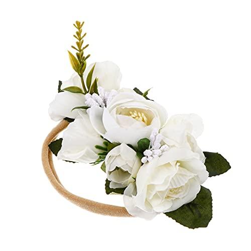 Kisangel Diadema de Flores para Bebé Cinta Elástica Unisex para El Cabello Lazos Decoraciones para Fiestas Accesorios de Fotos para Fiestas de Baby Shower