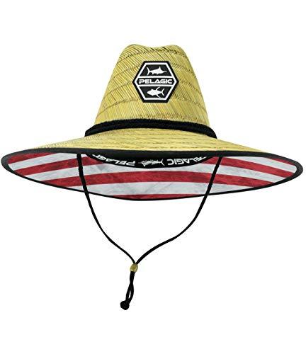 PELAGIC Baja Straw Hat | Size One Size | Americamo Blue
