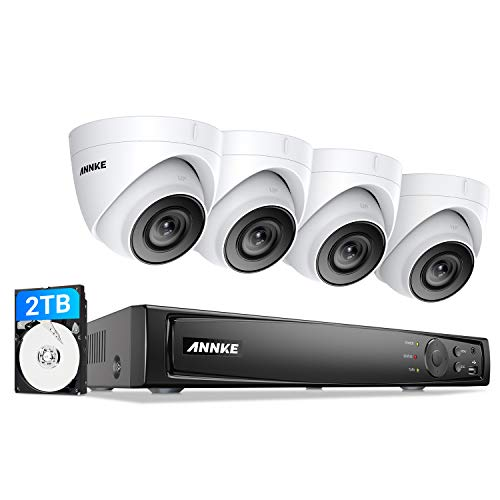 ANNKE C500 4K Ultra NVR, 5MP POE Überwachungskamera Set, 4X 5MP Wasserdicht Kamera mit Nachtsicht in Sternenlichtfarbe, H.265 + Videoaufzeichnung bis zu 80 Tage mit 2TB Festplatte,Bewegungserkennung