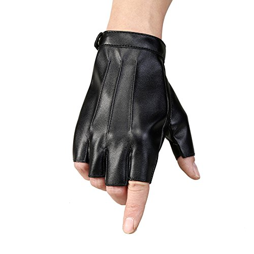 VelvxKl Herren Handschuhe, strapazierfähig, Halbe Finger, Kunstleder, weich, Atmungsaktiv, zum Fahren und Radfahren, Schwarz