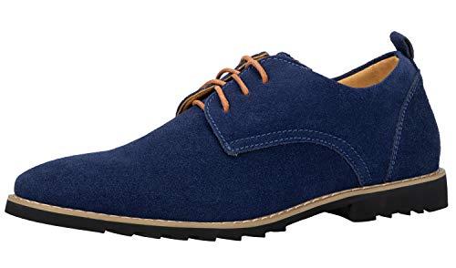 iloveSIA Schnürhalbschuhe Herren Classic Business Schuhe aus Wildleder Lederschuhe Derbys Anzugschuhe Blau 45 EU - US11.5