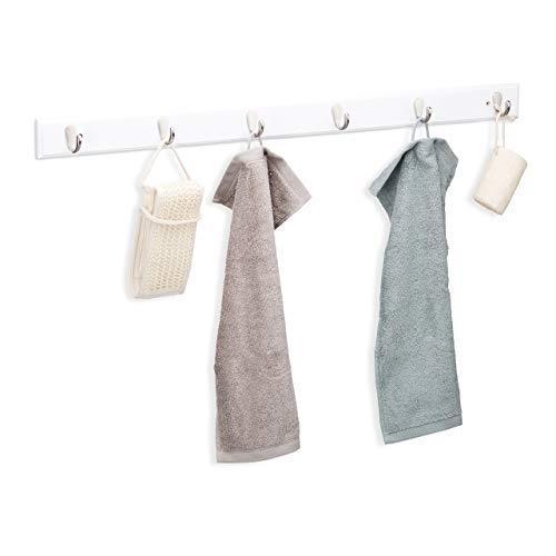 Relaxdays haakstrip bamboe, smal, 6 metalen haken, discreet design, garderobe, handdoekhouder, h x b x d: 6 x 88 x 5 cm, wit