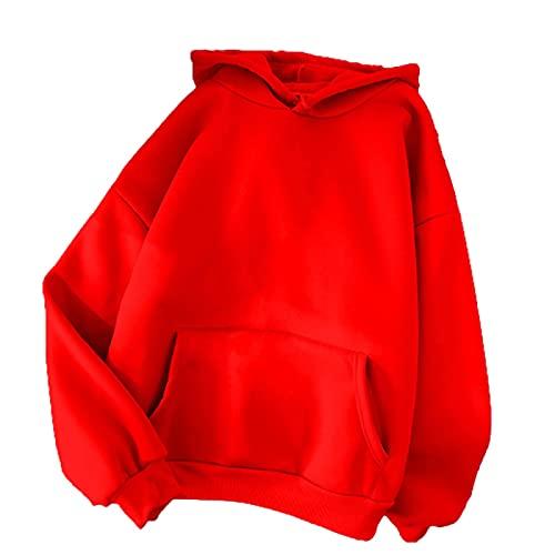 EMPERSTAR Sudadera con Capucha Pullover con Bolsillo con Capucha Pullover De Pareja De Mezcla De Poliéster De Color Sólido Regular (Rojo+L)
