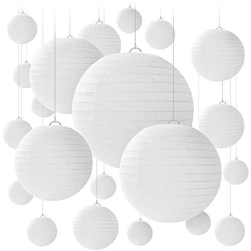 20 PCS weiße Papier Laterne Lampions runde Lampenschirm Papierlaterne, bunte Papierlaterne für Hochzeiten, Geburtstage - verschiedene Größen von 15, 20, 25, 30 cm (Weiß)