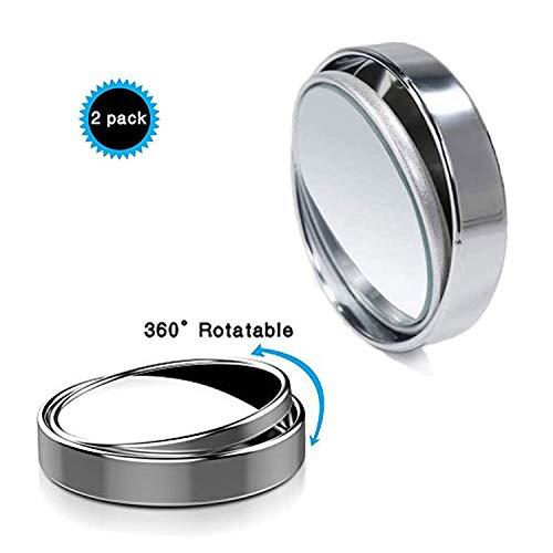 Uni-Fine 2 PCS Rotation à 360°Rétroviseurs Extérieur d'Angle Mort, HD Grand Angle avec Auto-adhésif 3M Rétroviseurs Aveugle Miroir d'Angle Réglable Blind Spot Mirror(argent)