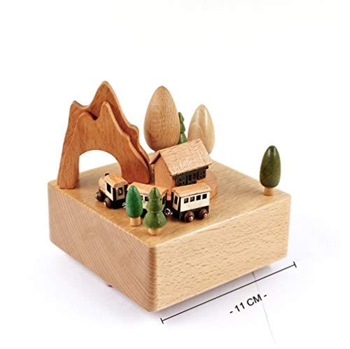 FELICIOO La Caja de música del Tren de la montaña Rusa de la choza de Madera Caja de música (Color : Wood)