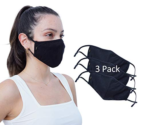 Simlu 3 Pack Premium Fabric Face Mask Reusable with Adjustable Elastic, 2 Layer,Cotton, Breathable, Nose Wire Black Cloth face Mask Washable Fits Men Women and Kids Made In USA