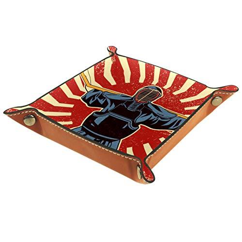 rodde Svuotatasche in Pelle Quadrato Combattenti di Arti Marziali Giapponesi della Spada di Kendo per Portafogli,Orologi,Chiavi,Monete,Telefoni Cellulari e Attrezzature da Ufficio,Colore Cammello