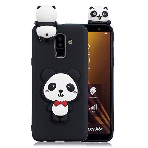 Yobby 3D Animal Dessin Animé Coque pour Samsung Galaxy A8 2018, Coque Ultra Fine Mignon Kawaii Motif Étui Slim Doux Flexible Souple Caoutchouc Silicone Antichoc Housse Protection-Panda Rouge Arc