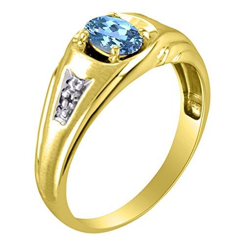 Anillo de topacio azul y diamante de 14 K amarillo o oro blanco de 14 K