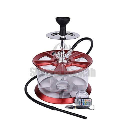 HOOKHA® Wasserpfeife Acryl Radnabe Felgen Hookah mit LED Felgen Shisha Set 37cm