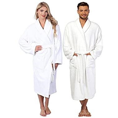 HomeLabels Terry Bathrobe - One Size Fits All - Shawl Collar Ultra-Soft Spa Robe - Absorbent, Durable and Comfortable - White - Medium/Large
