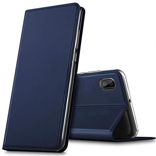 Verco Handyhülle für Samsung A10, Premium Handy Flip Cover für Samsung Galaxy A10 Hülle [integr. Magnet] Book Hülle PU Leder Tasche, Blau