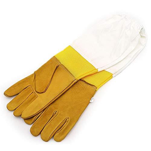 Apicultura Guantes con largas ventiladas Mangas - Cuero de Cabra Guantes Protectores,Beekeeping Supplies Beekeeping Gloves Guantes de Apicultura (Amarillo)