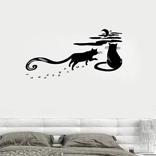 ASFGA Katze Wandtattoo Haustier Tier Silhouette Natur Nacht romantische Mond Himmel Vinyl Wandaufkleber Schlafzimmer Wohnzimmer Kinderzimmer Kinderzimmer Familie Dekoration Wandbild Geschenk 57x110cm