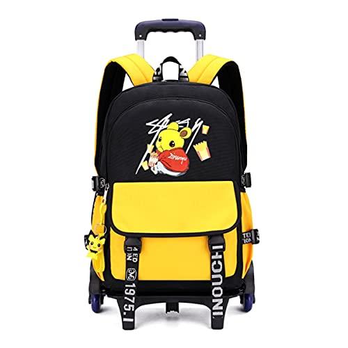 YUTCRE Zaino Scuola con Ruote per Elementare Bambina Impermeabile Zaino Trolley Scuola trolley staccabile Zaino con ruote scuola per bambina ragazzo (Color : Yellow, Size : 45 * 30 * 15cm)