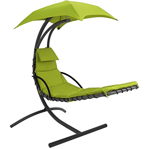 Sunnydaze Floating Chaise Lounger Swing Chair with Canopy, 79 Inch Long, Apple Green, 260 Pound Capacity