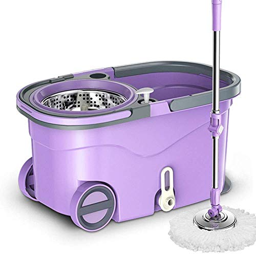 COOLSHOPY Manual reemplazable Lavado a Mano Plana fregona de microfibras de Spin Mop Bucket Sistema de Limpieza del Piso paños Squeeze Herramienta de Limpieza for la casa Conjunto de la fregona