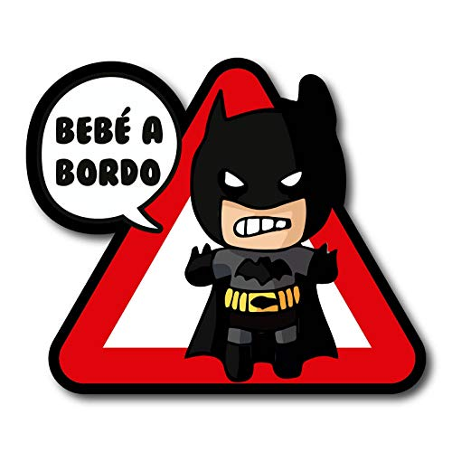 CUAC REVOLUTION Pegatina Bebe A Bordo Batman Vinilo Impreso para Coche Pegado Exterior