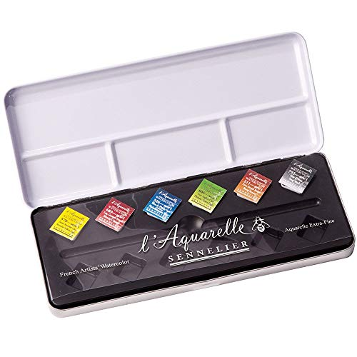 Sennelier l39;Aquarelle French Artists39; Watercolor Metal Case Set of 6 Half Pans