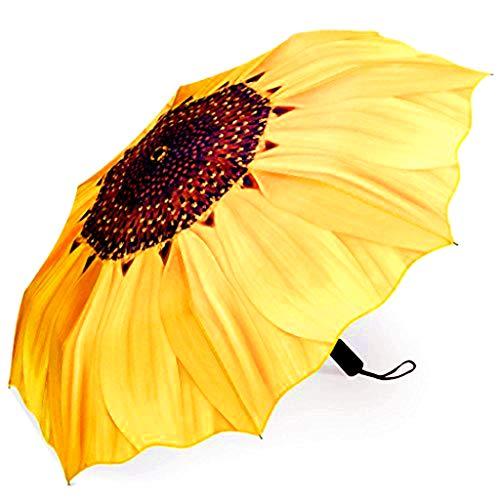 NVLFHY Sunflower Umbrella Three Folding Manual 38inch Windproof Opening and Closing Anti-Ultraviolet Sun Rain Umbrella for Woman (Yellow)