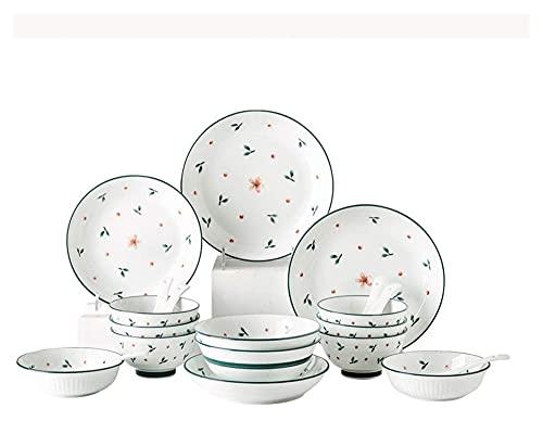 Cuina Diseño de Material de cerámica, Conjunto de vajillas de 20 Piezas, Conjunto de Platos, Conjunto de Platos para el hogar, Conjunto de Cuchara Yuechuang
